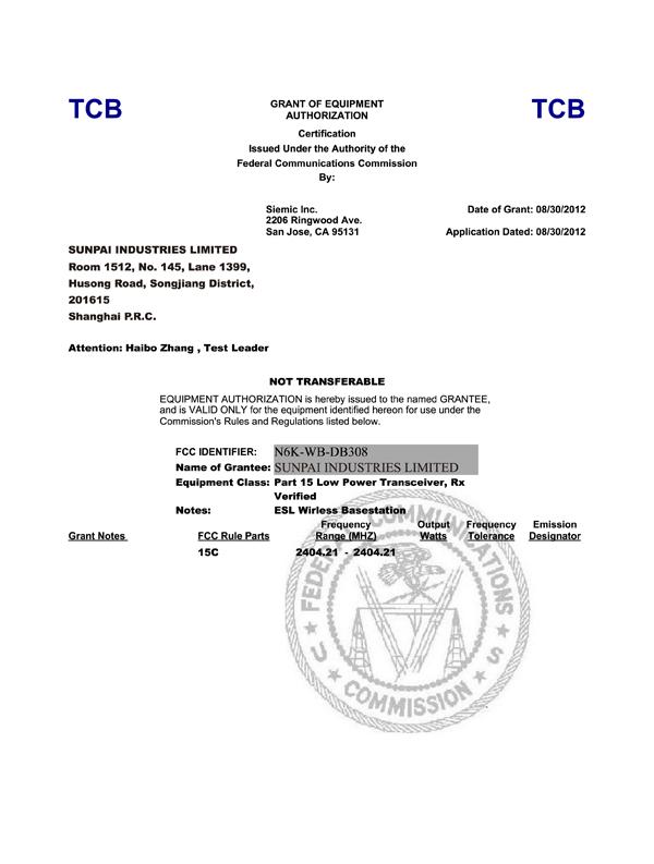 FCC Grant (N6K-WB-DB308) DXT